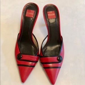 Coach Red Katalin Pointed Toe Mules